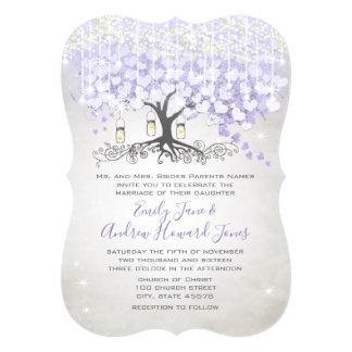 Cartão Casamento roxo da árvore da folha do coração da