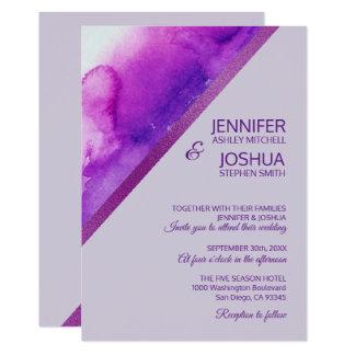 Cartão Casamento roxo da lavanda do Lilac da aguarela