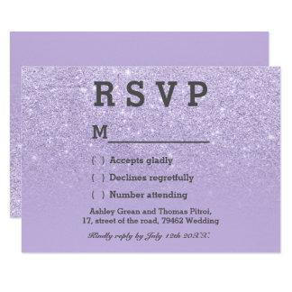 Cartão Casamento roxo do ombre RSVP do brilho do falso da