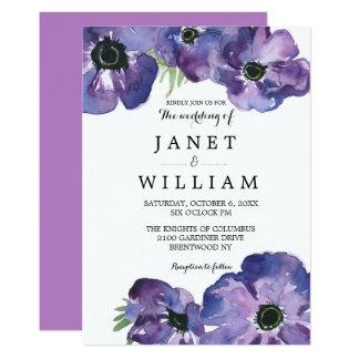 Cartão Casamento roxo simples da flor por Ozias