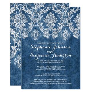 Cartão Casamento rústico azul da cor damasco da safira