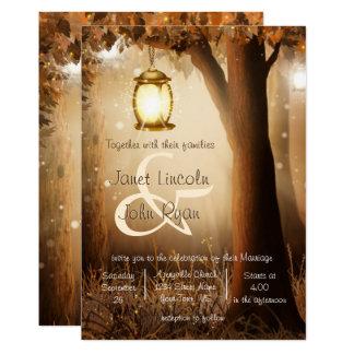 Cartão Casamento rústico da árvore do outono da queda