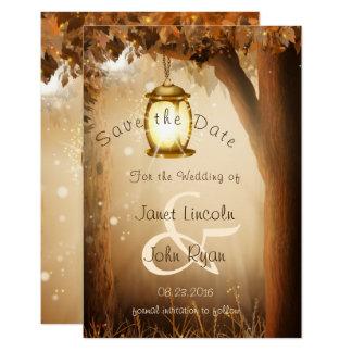 Cartão Casamento rústico da árvore do outono da queda -