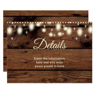 Cartão Casamento rústico da informação de detalhes do