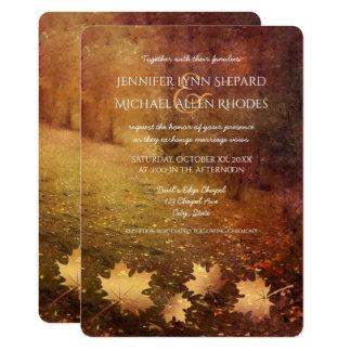 Cartão casamento rústico das folhas de bordo da fuga do