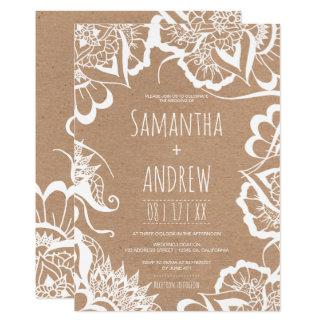 Cartão Casamento rústico de kraft da mandala floral
