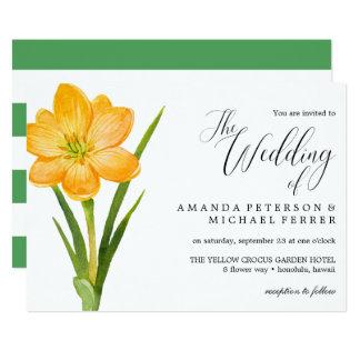 Cartão Casamento rústico do açafrão na moda do amarelo da