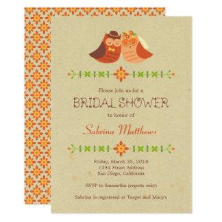 Cartão Casamento rústico do casal da coruja do Lovebird