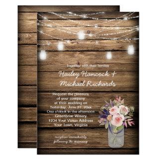 Cartão Casamento rústico do celeiro dos Wildflowers das
