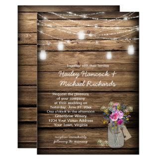 Cartão Casamento rústico do frasco de pedreiro dos