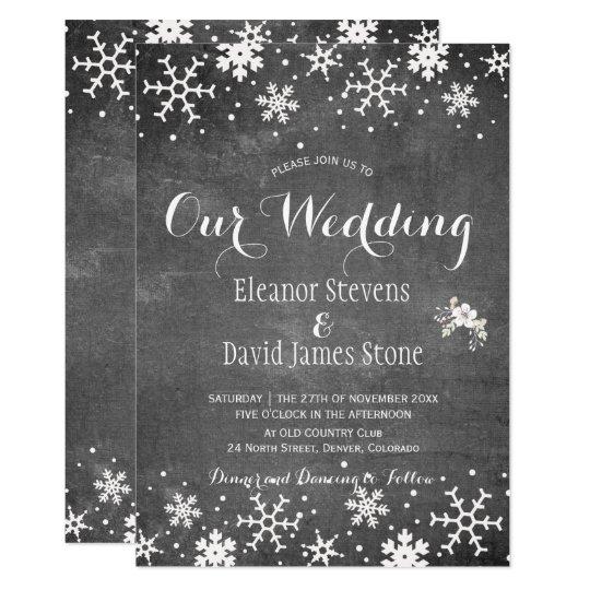 Cartão Casamento rústico do inverno do quadro dos flocos