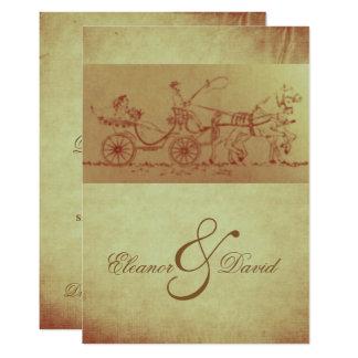 Cartão Casamento rústico do olhar do vintage do cavalo e