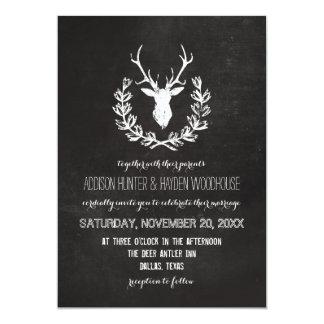 Cartão Casamento rústico do quadro dos Antlers dos cervos