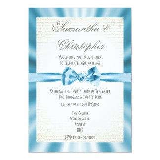Cartão Casamento simples da fita azul pálido