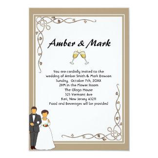 Cartão Casamento simples e romântico