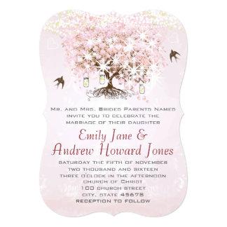 Cartão Casamento simplesmente cor-de-rosa do pássaro do