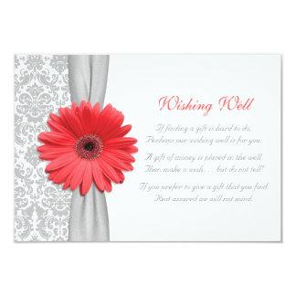 Cartão Casamento tema damasco cinzento da margarida coral