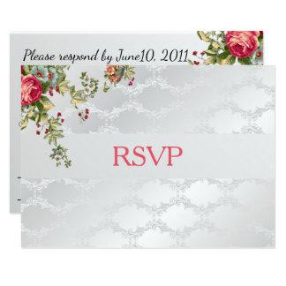 Cartão Casamento tema damasco de prata RSVP floral