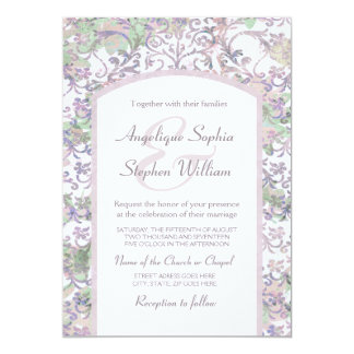 Cartão Casamento tema damasco floral da lavanda