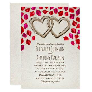 Cartão Casamento temático da praia original da pétala