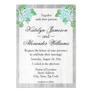 Cartão Casamento temático do país floral azul da aguarela