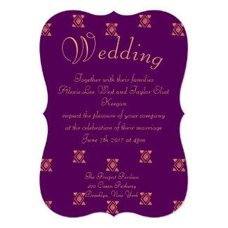 Cartão Casamento tribal roxo