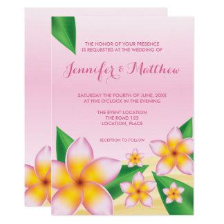 Cartão Casamento tropical da flor do Frangipani