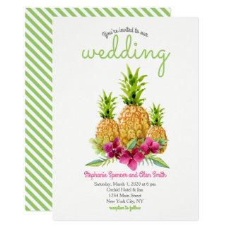 Cartão Casamento tropical das samambaias das orquídeas do