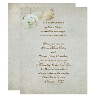 Cartão Casamento tropical do Seashell