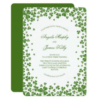 Cartão Casamento verde irlandês do trevo