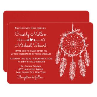 Cartão Casamento vermelho de Boho do coletor do sonho de