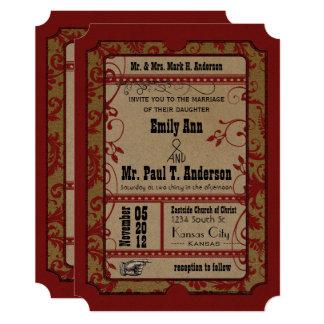 Cartão Casamento vermelho do bilhete do filme do poster
