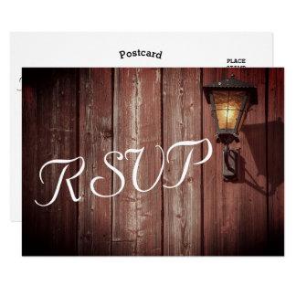 Cartão Casamento vermelho do celeiro do país - RSVP
