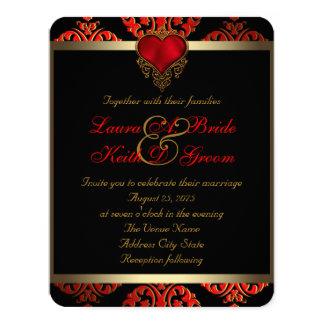Cartão Casamento vermelho do preto e do ouro