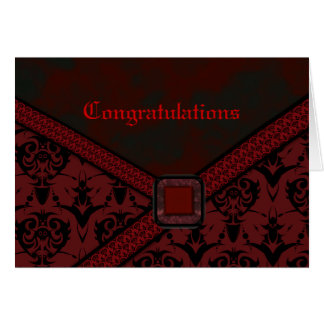 Cartão Casamento vermelho & preto do laço do gótico