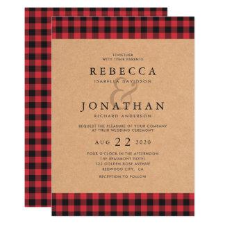 Cartão Casamento vermelho & preto rústico do país da