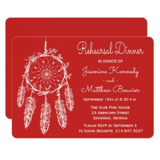 Cartão Casamento vermelho tribal de Dreamcatcher do
