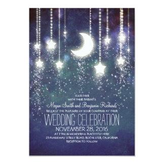 Cartão Casamento vintage das estrelas da lua & das luzes