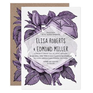 Cartão Casamento vintage dos rosas da violeta antiga