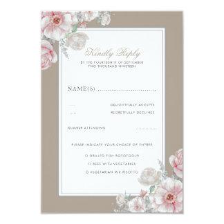 Cartão Casamento vintage elegante floral RSVP do rosa e o