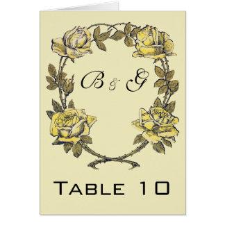 Cartão Casamento vintage, grinalda antiga amarela do rosa
