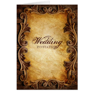 Cartão Casamento vintage ocidental elegante sofisticado