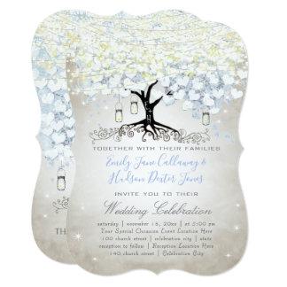 Cartão Casamento Woodsy de Boho da árvore azul & de prata