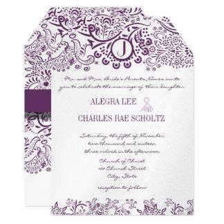 Cartão Casamentos roxos do monograma do damasco dos