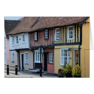 Cartão Casas coloridas no açafrão Walden, Essex, Reino