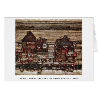 Cartão Casas com Clotheslines ou subúrbio por Schiele