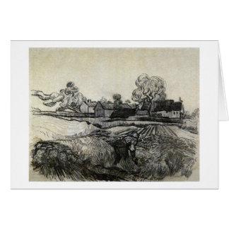 Cartão Casas de campo, mulher no primeiro plano, Vincent