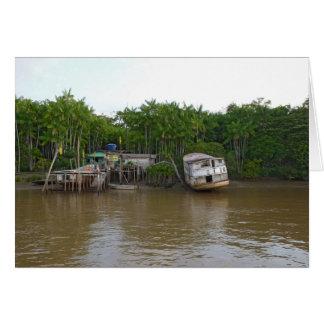 Cartão Casas do Stilt no Rio Amazonas