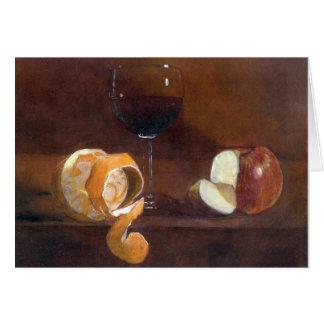 Cartão Casca alaranjada, Apple e um vidro do vinho tinto