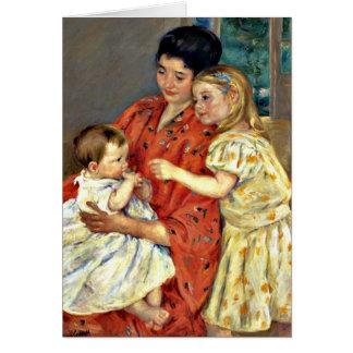 Cartão Cassatt - mãe e Sara que admiram o Baby-1901.j